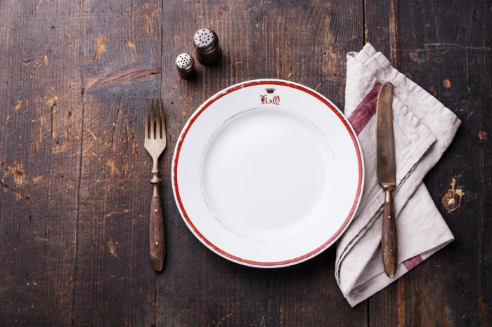empty plate on a bare table