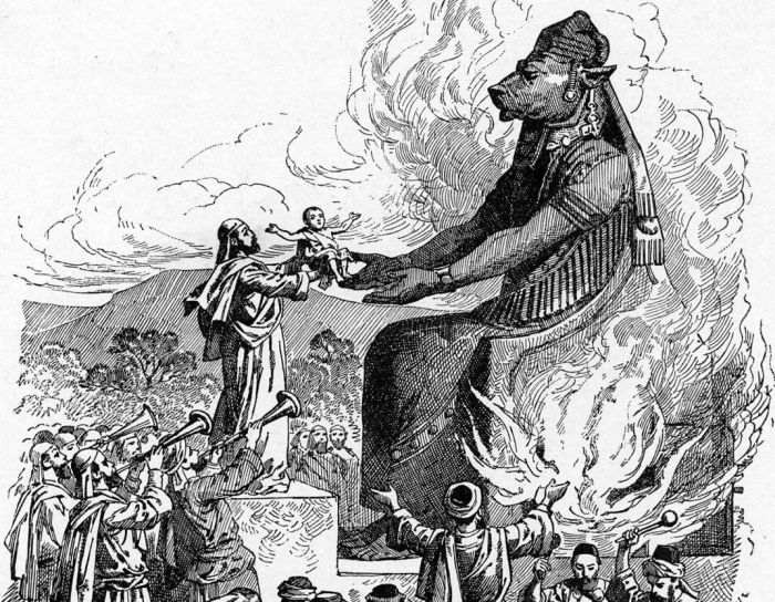 an engraving of people offering their children to the idol Moloch