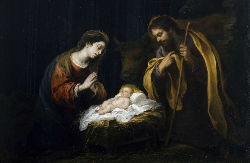 Bartolomé Esteban Murillo - The_Nativity: Painting depicting Mary, Joseph, and the newborn Jesus